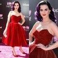 2017 Nueva Llegada Real de Katy Perry Vestido de Terciopelo de La Vendimia vestido de Bola de La Celebridad Vestidos de Cóctel Parte De Mí 3d de estreno