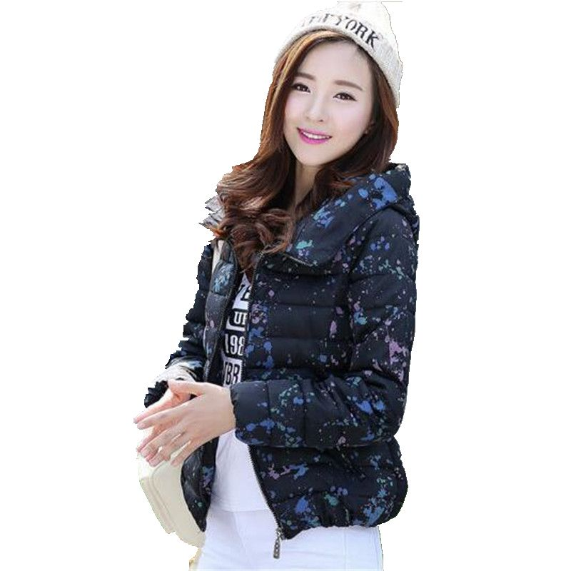 Women Winter Jacket New Style Fashion Down jacket Printed Long sleeve Hooded Jacket Large size Slim Warm Cotton Coat Women G2639