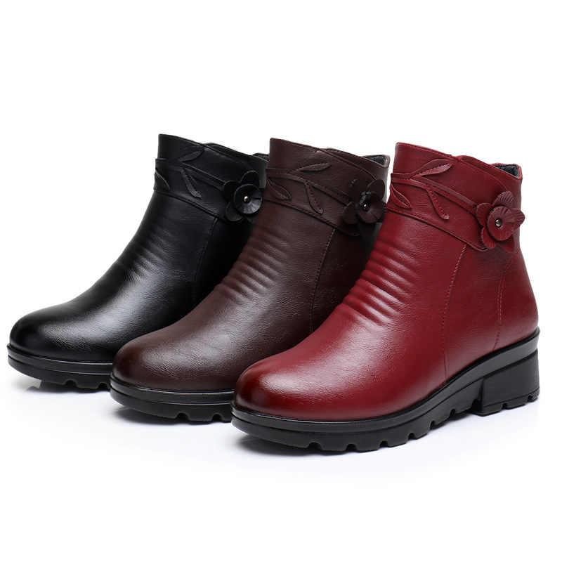 ZZPOHE Yeni Moda Deri Kadın yarım çizmeler Kış Su Geçirmez Sıcak Kadın Kar Botları Kadın Kaymaz rahat ayakkabılar Bayan Botları