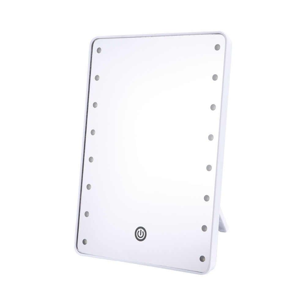 RUIMIO зеркало для макияжа с 16 светодиодами косметическое зеркало с сенсорным диммером аккумулятор работает подставка для настольного ванной путешествия