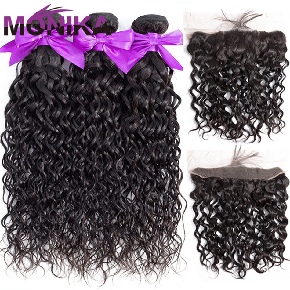 Monika 30 inch Bundles With Frontal Brazilian Hair Weave 3 Bundles with Frontal Water Wave Bundles With Frontal Non Remy Human