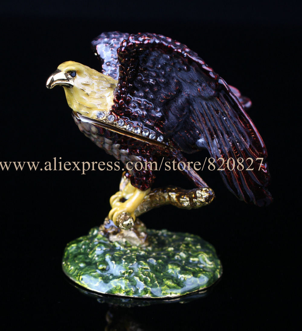 Bald Eagle on Branch Trinket Box Bejeweled Figurine Eagle Handmade Jeweled Metal & Enamel Trinket Box Bald Eagle Trinket Box