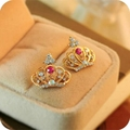 Vintage Crown Colorful Crystal gold color Stud Earrings for Women Dress Jewelry Wholesale