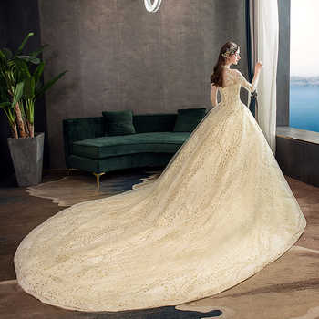 Mrs Win Gold Lace Muslim Wedding Dress With Big Train 2019 New High Neck Full Sleeve Wedding Gown Vintage Bridal Gown X