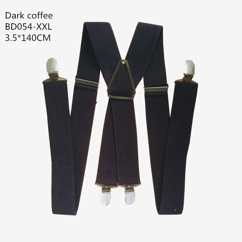Одноцветные подтяжки унисекс для взрослых, мужские XXL, большие размеры, 3,5 см, ширина, регулируемые эластичные, 4 зажима X сзади, женские брюки, подтяжки, BD054 - Цвет: Dark coffee-140cm
