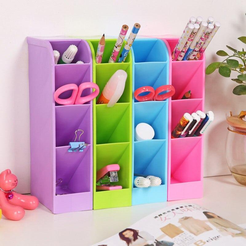 1PC Plastic Desktop Storage Box 4 Grids Pen Tableware Organizer Box  Cosmetic Storage  Finishing Box Home Accessories