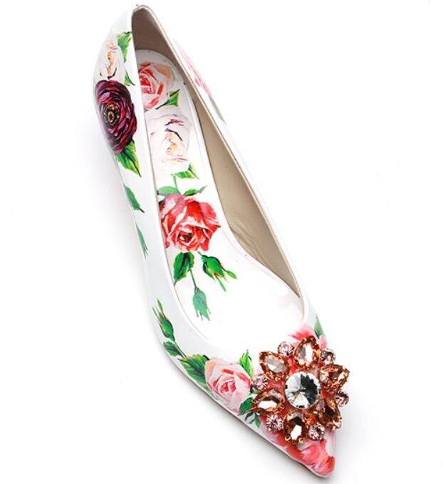 高級花柄ハイかかと光沢のあるクリスタルブライダルウェディングパーティー靴レディースポインテッドトゥスティレット女性 5 センチメートル 9 センチメートルかかと  グループ上の 靴 からの レディースパンプス の中 3