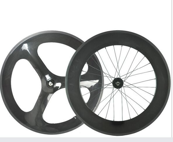 OEM design for carbon tri 3 spoke front and 88mm rear bike wheel track /road bike wheelset 23mm width road bicycle wheel700C no brake farsport fsl88 cm 23 clincher 88mm 23mm track bike carbon bike wheel rim 88 high profile 88mm carbon track bicycle rim