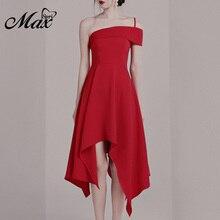 Max Spri 2019 Fashion Women One Off Shoulder Sling Strap Asymmetric Hemline Solid Red Summer Party A-Line Midi Dress
