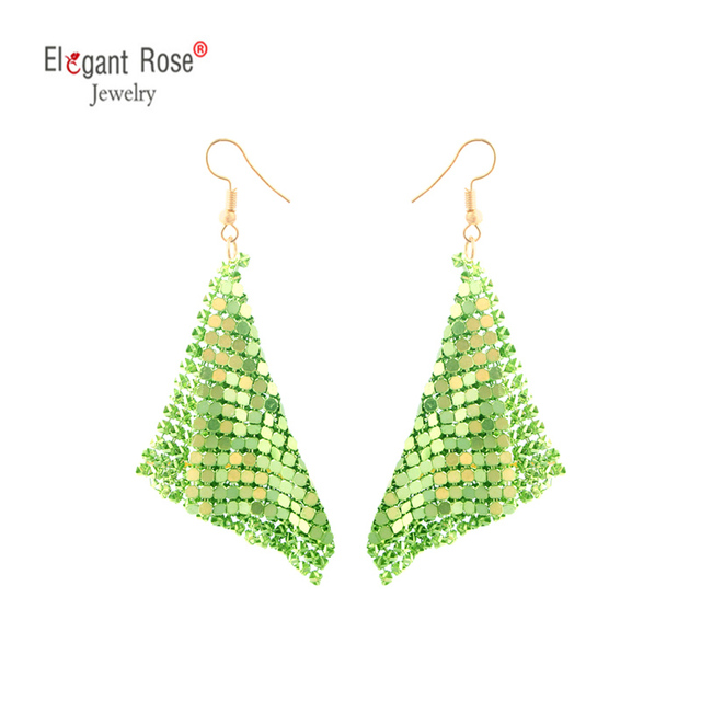 Metallic Green Square Sequins Long Tassel Dangling Earrings Trendy For Women as Gift Fashion Jewelry Hochzeit Ohrringe