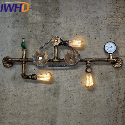 IWHD Water Pipe Iron Sconce Wall Light Vintage Industrial Wall Lamp Retro Pocket Watch Arandela Para Parede Home Lighting