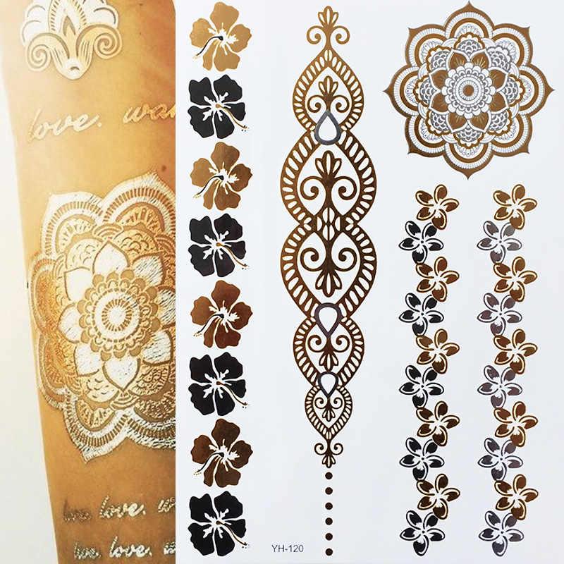 Flash Metallic Waterdichte Tattoo Goud Zilver Vrouwen Mode Henna/Pauwenveer Ontwerp Tijdelijke Tattoo Stick Paster