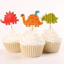 48pcs Cartoon Jurassic Dinosaur Cupcake Topper Picks Birthday Party Decorations Kids Favors wedding decoration Party Supplies janusz niżyński bajki dla dzieci stories for kids