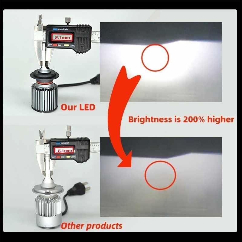 2 قطعة F4 H7 Led لمبة H4 H1 H3 H8/H9/H11 H27/880 9005/HB3 9006/HB4 D2S (R/C) CSP رقاقة توربو Led الضباب ضوء 7000LM 6000K البسيطة حجم