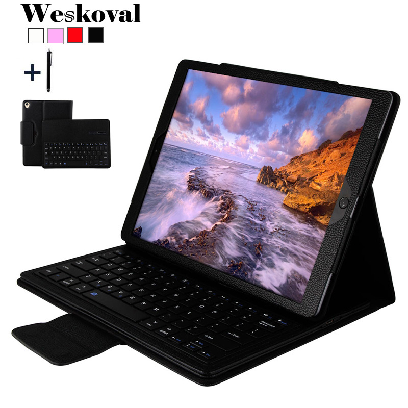 For iPad Pro 12.9 inch 2017 Wireless Bluetooth Keyboard Case For iPad Pro 12.9 2017 Tablet Flip Leather Stand Cover+Stylus leather case flip cover for letv leeco le 2 le 2 pro black