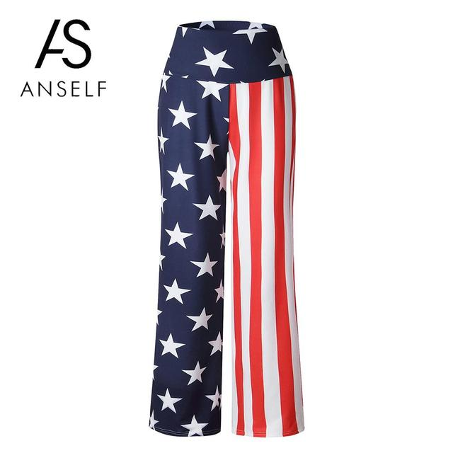 6bd1d672e0d Baggy Pants Women Wide Legs Pants Flag Stars Striped Print High Waist Pants  Casual Loose Trousers female sweatpants joggers 2019