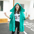 New Autumn Casual Women Trench Coat Hooded Loosekoling Cloak Coats  Green Zone In Black Cloth 851