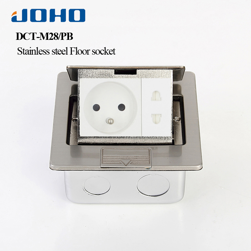 JOHO Stainless Steel Socket Fast Pop Up Electrical Floor Socket Box With French Socket & RJ45 16A 250V Electrical Outlets universal three inserted multifunctional tabletop french socket with rj45 black silver free shipping