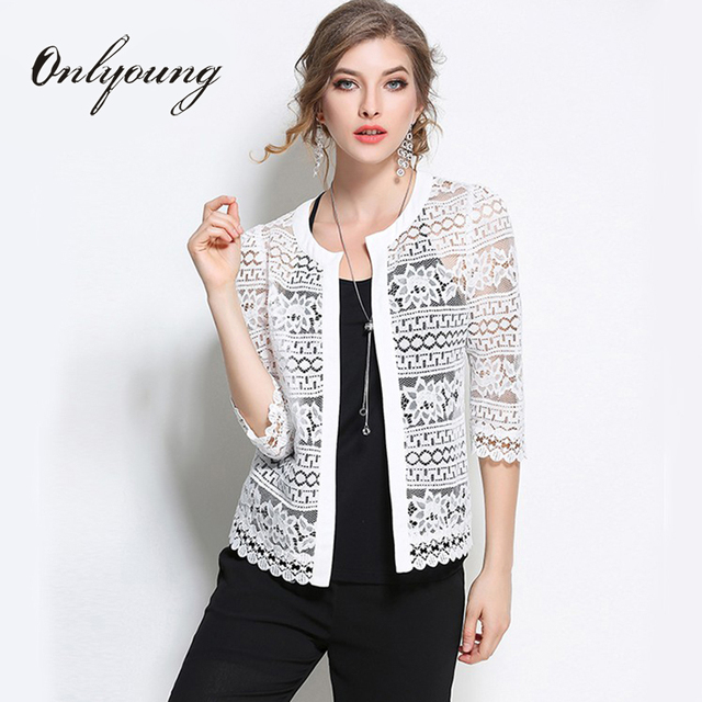 Onlyoung 2017 Summer Cardigan Women White Lace Blouse Coats Plus ...