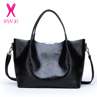 Women's Leather Handbag Large Capacity Tote Sling Bag for Ladies and Girls Casual Black PU Messenger Bag Fashion Shopping Bag