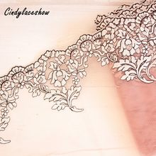 1 Yard 21cm wide Embroidered Tulle Lace Trim Mesh Lace Trim Doll's Dress Underwear DIY Sewing Lace Fabric Dusty Pink White Black(China)