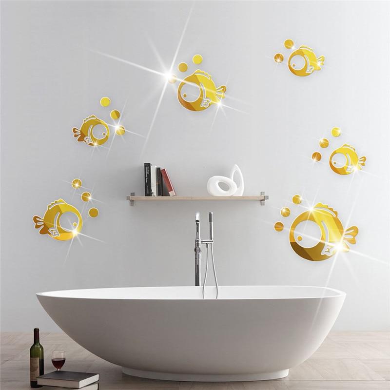Bubble Fish Bathroom Acrylic Mirrored Decorative Sticker