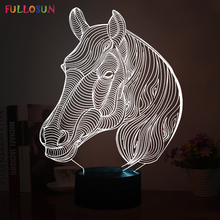 Interesting 3D Illusion Lamp LED Night Lights with Mustang Horse Shape for Desk Room Decorations