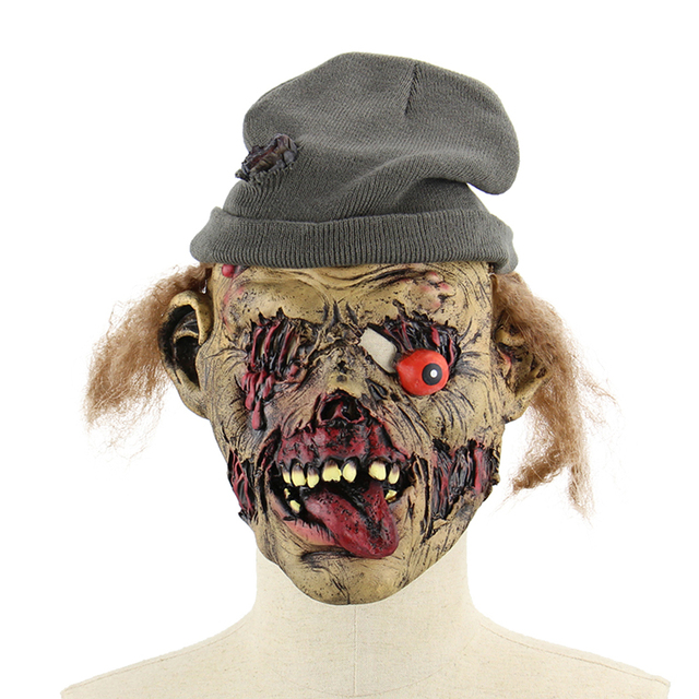 latex scary zombie halloween mask horror scary masks with hair cap for halloween masquerade costume