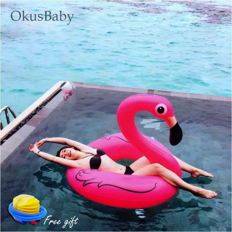 Pink Inflatable Life Buoy Bath Water Flamingo Toy Pool Rafts 2 Sizes For Children & Adult Swim Learning Tool Free Pump
