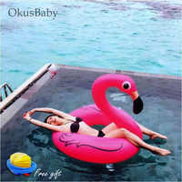 Pink Inflatable Ride-ons Life Buoy Flamingo Bath Water Toy Pool Rafts 2 Sizes For Children & Adult Swim Learning Tool Free Pump