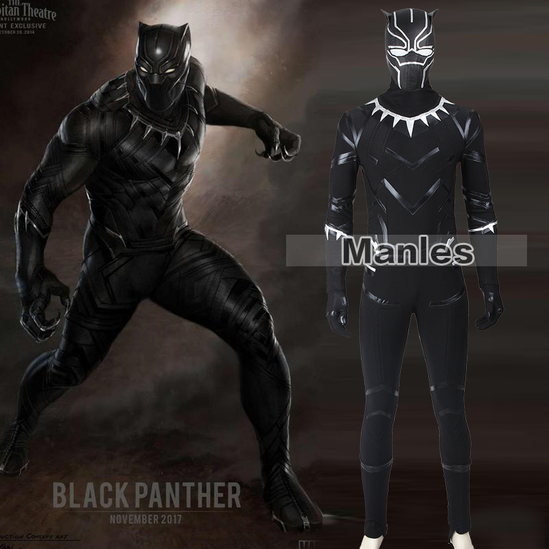 Black Panther Costumes Captain America Cosplay Civil War Black Panther T'Challa Halloween For Men Adult Fantasy Party Christmas
