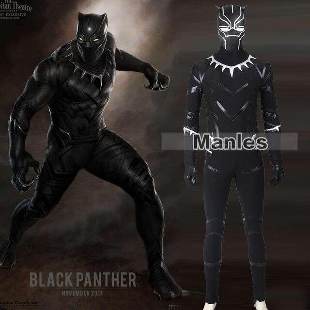 ea3dd8992 Trajes Capitão América Cosplay Guerra Civil Black Panther Pantera negra  T'Challa Fantasia Festa de