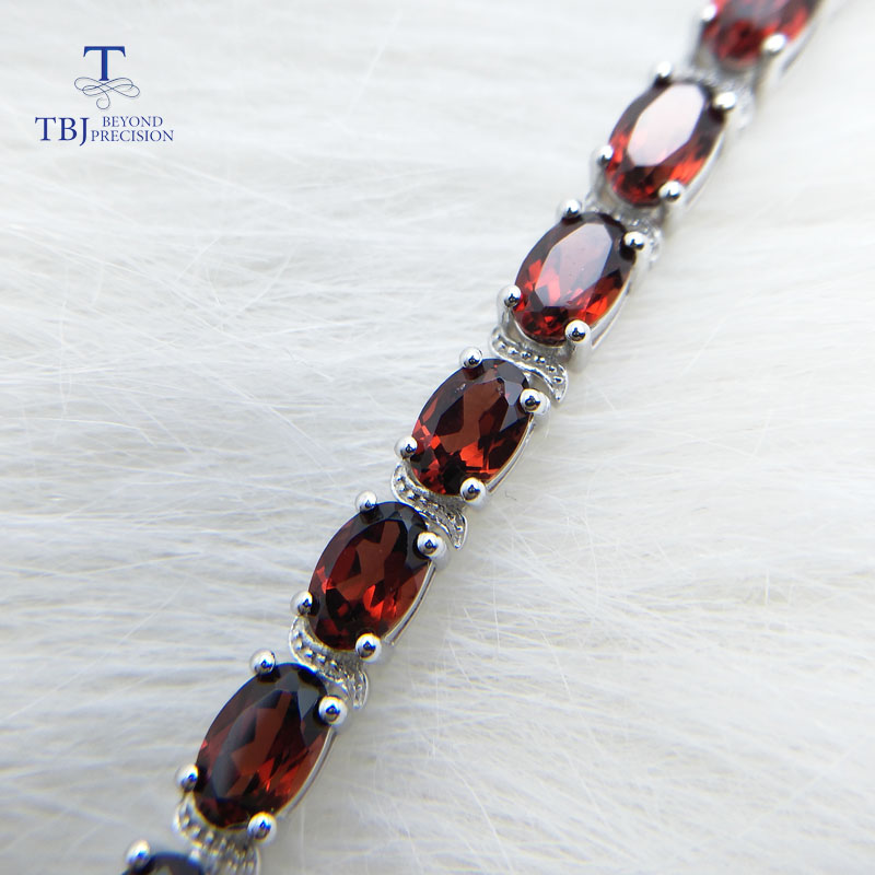 TBJ,Elegant bracelet with natural Garnet in 925 sterling silver, fine jewelry for anniversary wedding party,best gift for women