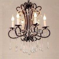 The American Village Dining Room Chandelier Crystal Lamp Iron Matte Black Art Creative Minimalist Scandinavian Cafe Lamp