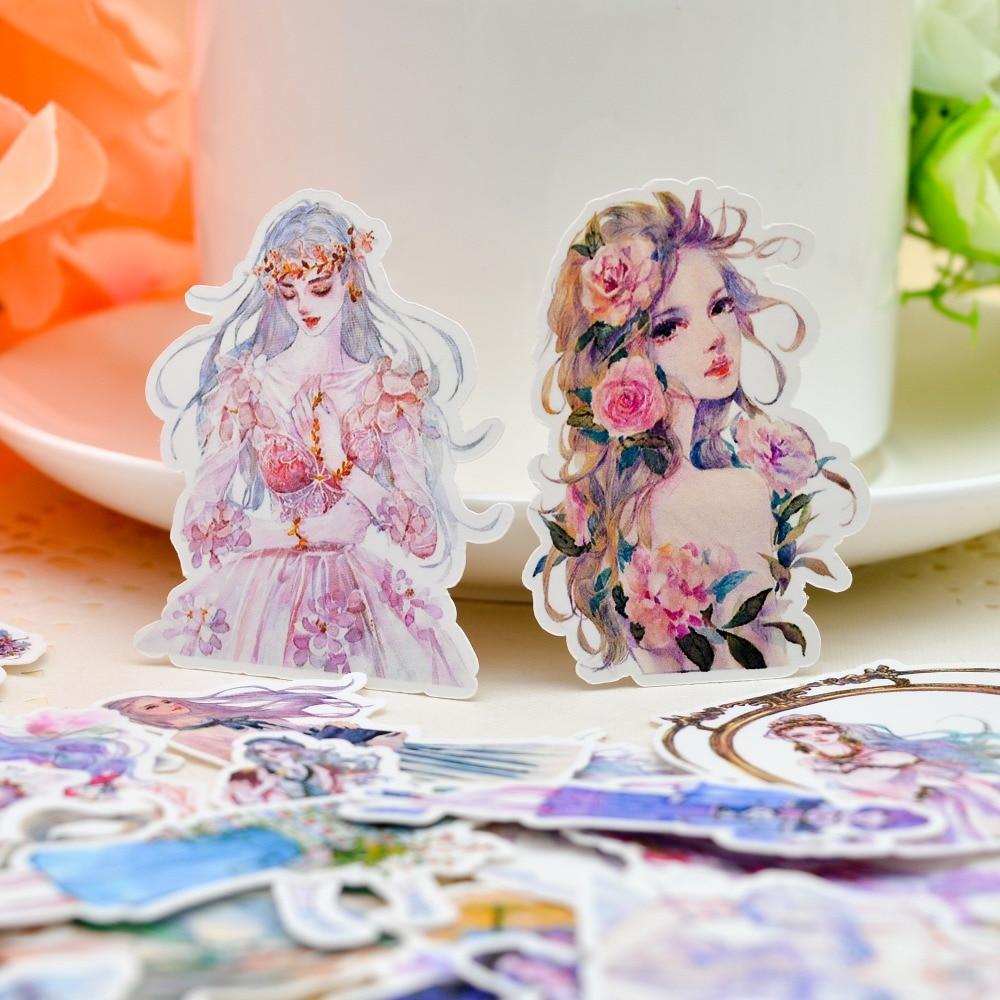 33pcs Watercolor Blooming Girl Sticker Diary Notebook Planner / Handbook DIY Letter Thin Paper Flower Sticker
