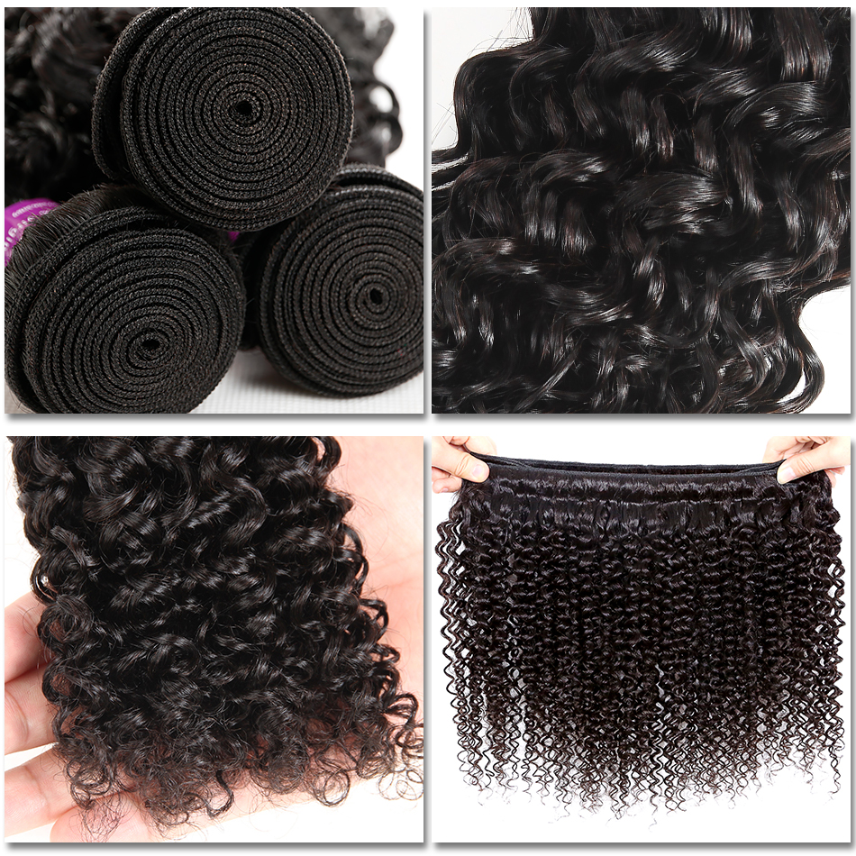 Image 3 - Soft Feel Hair Curly Bundles With Closure Brazilian Kinky Curly Hair With Closure Remy Weave Human Hair 3/4 Bundles With Closure-in 3/4 Bundles with Closure from Hair Extensions & Wigs