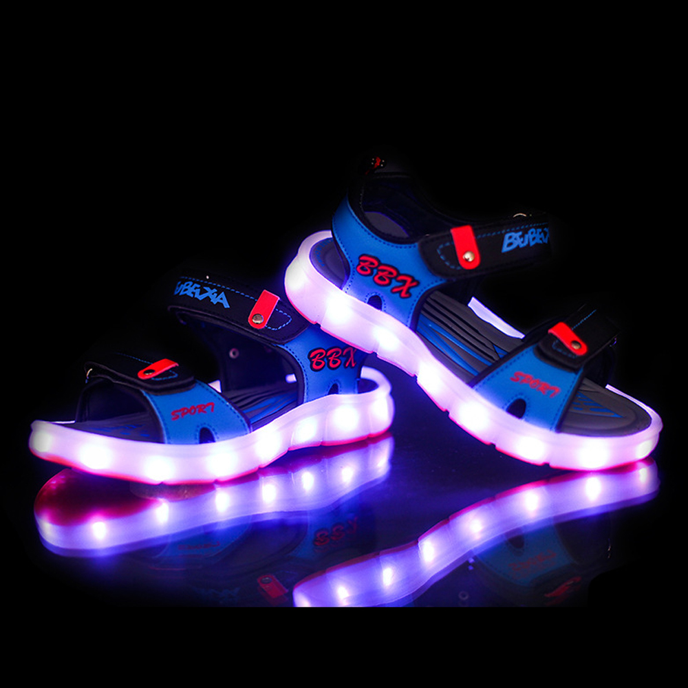 Kids Girls Trainers Flashing LED Luminous Lights USB Charger Lace Up High Top FW