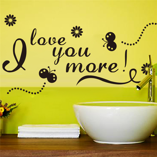 love you more letters wall stickers for living room home wall art ...