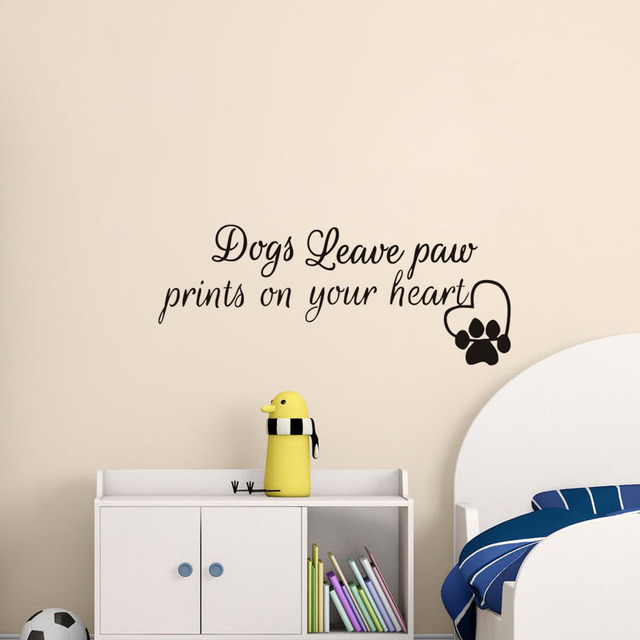 5c6e4a2f219c Pet Shop Art Mural Dogs Leave Paw Prints on Your Heart Wall Sticker Dog Paw  Print Hear Wall Decal Grooming Salon Decor