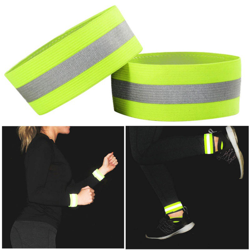 1pcs Band Reflective High Visibility Elastic Wristbands Ankle Wrist Arm Warning Running Cycling Night Warning Outdoor Sports