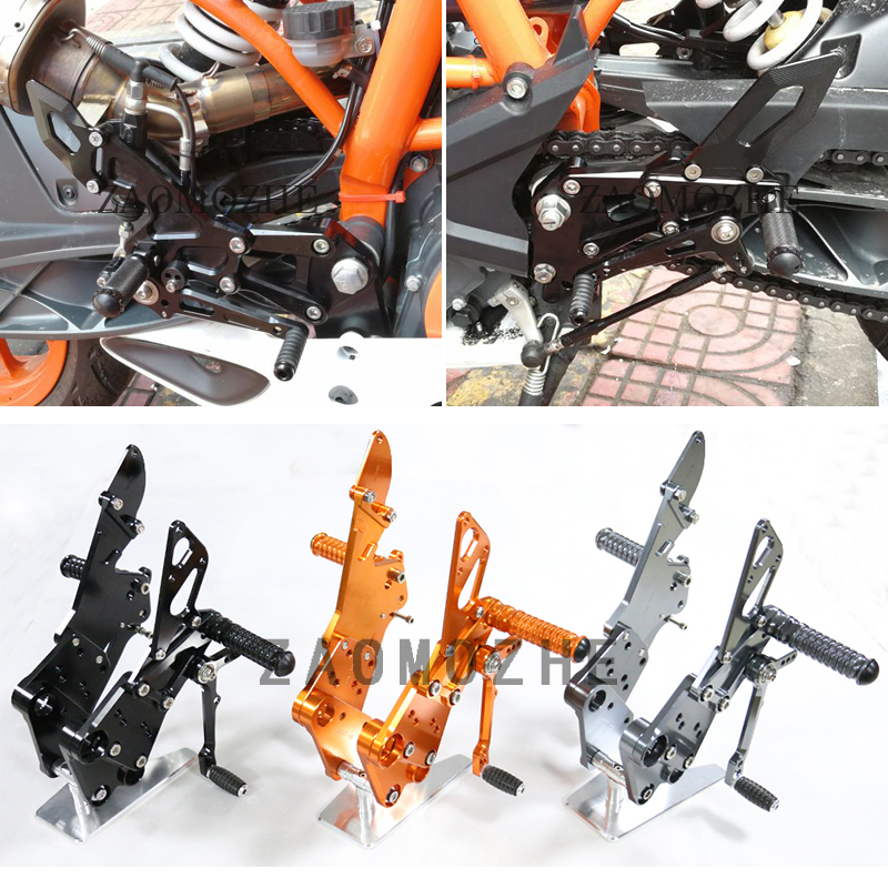 Motorcycle CNC Adjustable Rider Rear Sets Rearset Footrest Foot Rest Pegs For KTM Duke 125 200