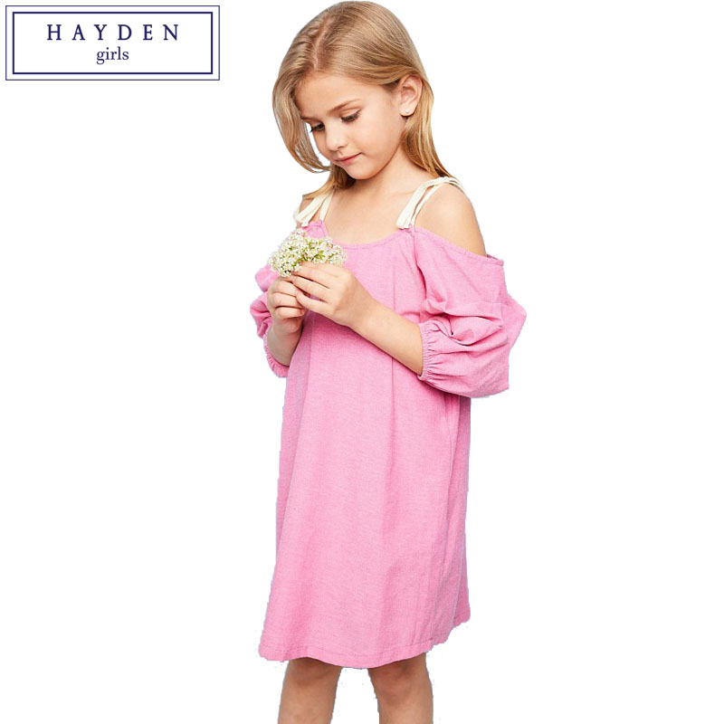 HAYDEN Girls Ruched Dress Pink Strap Off Shoulder Dresses for Party Teenagers Shift Dress 100% Cotton Clothes for Big Teens Girl hot pink one shoulder ruched bust slit long party dress
