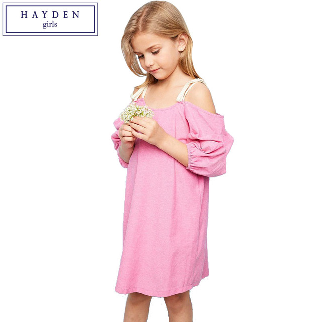 f44a6fc7b HAYDEN Girls Ruched Dress Pink Strap Off Shoulder Dresses for Party ...