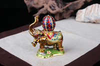 Elephant Jeweled Trinket Box Elephant Box with Faberge Egg on Back Handmade Crystal Metal Ring Holder Elephant Wedding Gifts