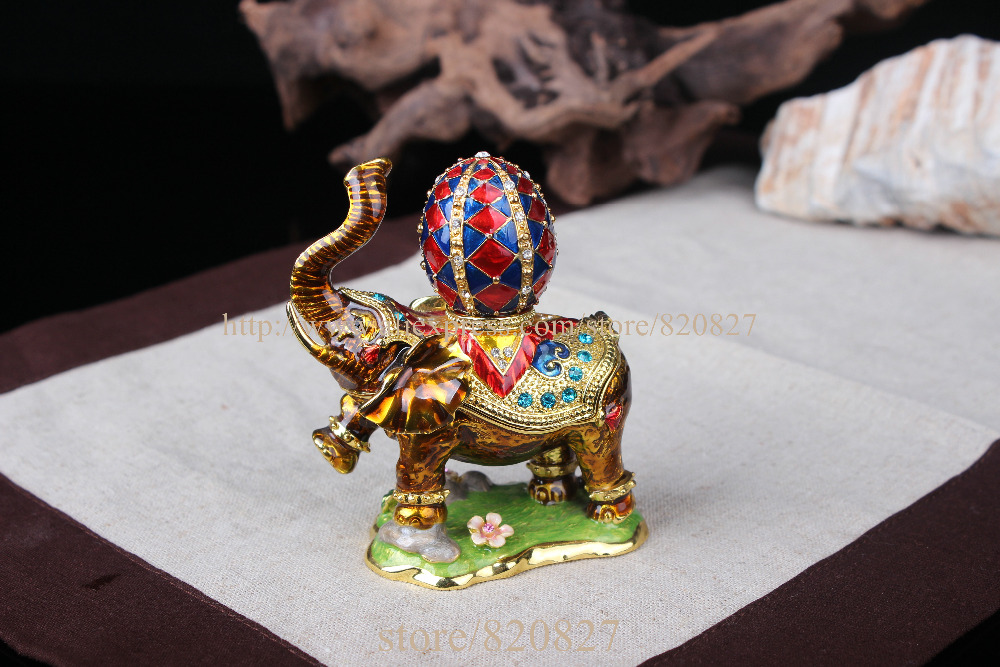 Elephant Jeweled Trinket Box Elephant Box with Faberge Egg on Back Handmade Crystal Metal Ring Holder Elephant Wedding Gifts elephant faux gem beaded ring