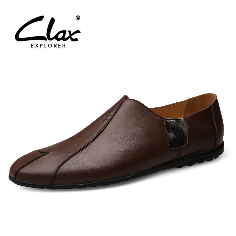 CLAX Men's Casual Shoes 2018 Spring Summer Fashion Genuine Leather Loafes Slip on Male Boat Shoe Breathable Soft Flats Footwear vesonal breathable light men moccasins loafers shoes male genuine leather spring summer driving soft flats footwear slip on boat