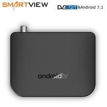 DVB T2/T S/S2 karasal Android 7.1 TV kutusu Combo Amlogic S905D dört çekirdekli 64 bit 1 GB/8 GB desteği 1080p 4K 30fps M8S artı DVB