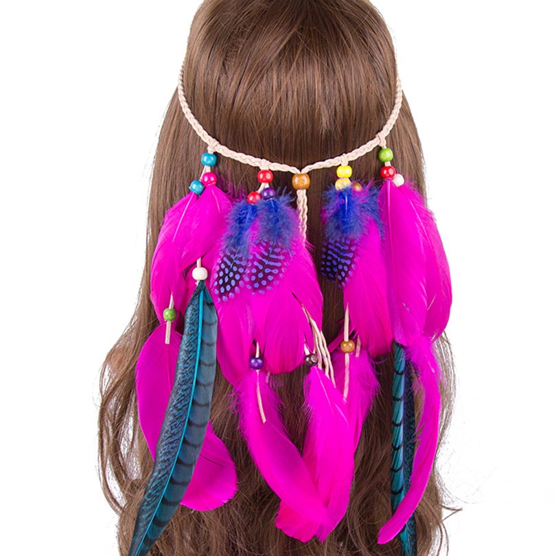 3ef03bbdbc511 US $4.74 5% OFF|Aliexpress.com : Buy Haimeikang Colored Feather Hairband  Short Lady Gypsy Bohemia Beach Party Performance Patchwork Girl Hair  Jewelry ...