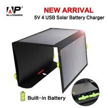 ALLPOWERS Banco Portable de la Energía Solar de baterías de 5 V 21 W 4 Salidas USB de Carga para el iphone iPad Samsung HTC Sony Huawei etc.