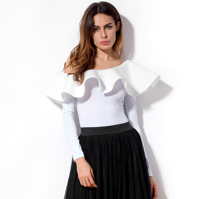 e66d629fdc03 Rompers Women Bodysuit Shirts Long Sleeve New Arrival 2019 Ruffles Off  Shoulder Tops Women Black White Bodysuits Skinny Women